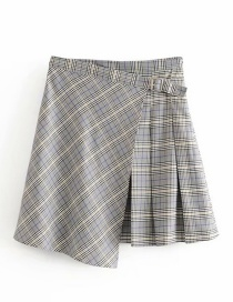 Fashion Gray Irregular Plaid Pleated Skirt