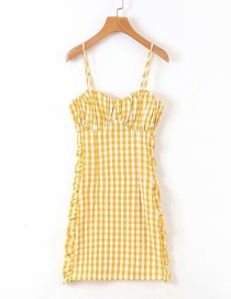 Fashion Yellow Checked Pleated Strap Dress