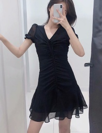 Fashion Black Tie Rope V-neck Pleated Dress