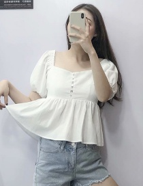 Fashion White V-neck Ruffled Hem Shirt