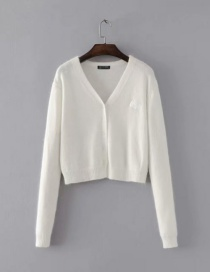 Fashion White Hairy Buckle Girl V-neck Single-breasted Sweater Cardigan