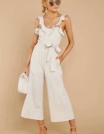 Fashion Beige Off-the-shoulder Ruffled Jumpsuit