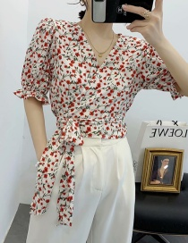 Fashion White V-neck Strap Cross Print Shirt