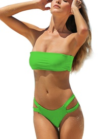 Fashion Fluorescent Green Bandeau Double-sided Bandage Split Swimsuit