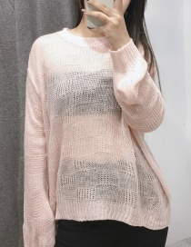 Fashion Pink Puff Sleeve Checkered Pullover
