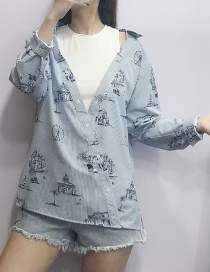 Fashion Blue Off-the-shoulder Stitching Printed Striped Shirt