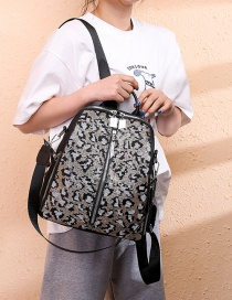 Fashion Gray Leopard Waterproof Sequined Oxford Backpack