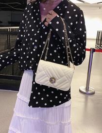 Fashion White Embroidery Chain Chain Messenger Bag