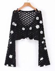 Fashion Black Crocheted V-neck Sweater Sweater