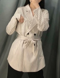 Fashion Black And White Striped Double-breasted Lace Suit