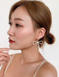Fashion Bow Gold 925 Silver Pin Studded Bow Stud Earrings