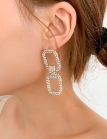Fashion Gold Fully Drilled Geometric Earrings