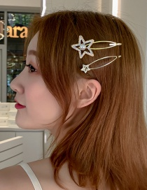 Fashion Gold Imitation Pearl-studded Star Hairpin