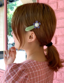 Fashion Avocado Green Alloy Diamond-studded Pearl Flower Hairpin