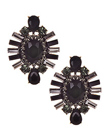 Fashion Black Alloy Studded Oval Stud Earrings