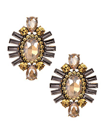 Fashion Champagne Alloy Studded Oval Stud Earrings