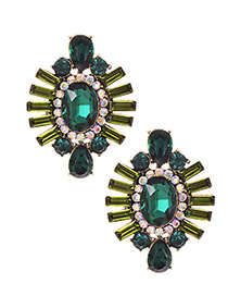 Fashion Green Alloy Studded Oval Stud Earrings