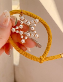 Fashion Yellow Imitation Pearl Star Rubber Band