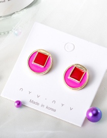 Fashion Red Round Hit Color Glaze Stitching Stud Earrings