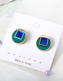 Fashion Blue Round Hit Color Glaze Stitching Stud Earrings