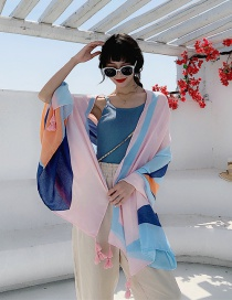 Fashion Striped Blue Tangerine Cotton And Linen Printed Scarves