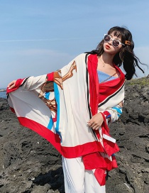 Fashion Red Edge Cotton And Linen Printed Scarves