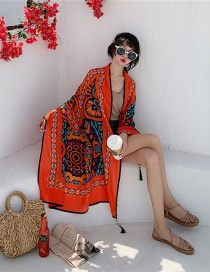 Fashion Orange Totem Cotton And Linen Printed Scarves