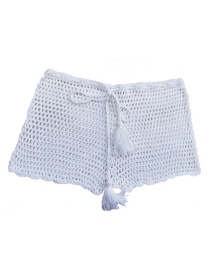 Fashion White Lace-knit Boxer Short-sleeved Swim Trunks