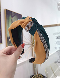 Fashion Green + Yellow Contrast Color Matching Drill Strip Knotted Wide-brimmed Headband