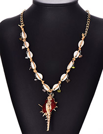 Fashion Red Alloy Resin Shell Conch Necklace