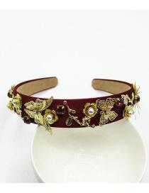 Fashion Red Wine Pearl-studded Headband
