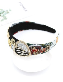 Fashion Color Full Diamond Geometric Heart Bee Headband