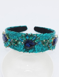 Fashion Blue Full Diamond Geometric Heart Bee Headband