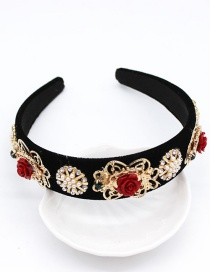 Fashion Black Flame Bird Ceramic Flower Pearl Headband