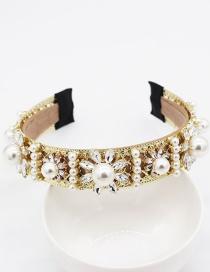Fashion Gold Pearl Flower Geometric Headband