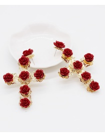 Fashion Red Flower And Diamond Earrings