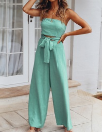 Fashion Light Blue One-neck Collar Umbilical Straps Trousers
