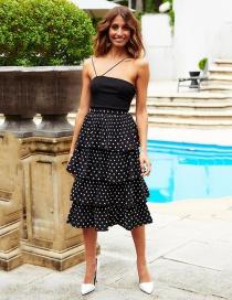 Fashion Black Chiffon Wave Point Two-piece Skirt