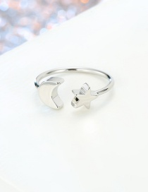 Fashion Moon Silver Star Moon Lightning Round Open Ring