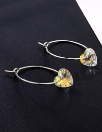 Fashion Yellow Zircon Heart-shaped Earrings