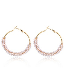 Fashion White Open Round Bead Ring Big Ear Ring