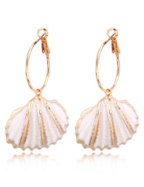 Fashion Gold Shell Circle Earrings