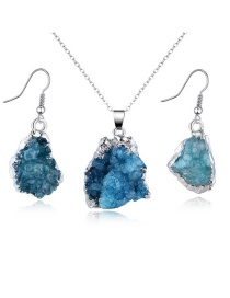 Fashion Blue Geometric Natural Stone Necklace Earrings