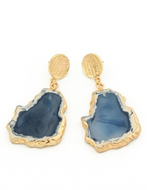 Fashion Blue Irregular Imitation Agate Earrings