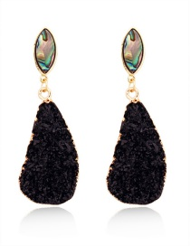 Fashion Black Imitation Natural Stone Geometric Resin Earrings