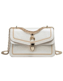 Fashion Creamy-white Pu Alloy Insect Lock Shoulder Bag Large