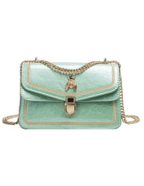Fashion Green Pu Alloy Insect Lock Shoulder Bag Large