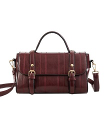 Fashion Red Wine Pu Shoulder Bag