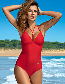 Fashion Red Sling Open Back One-piece Swimsuit