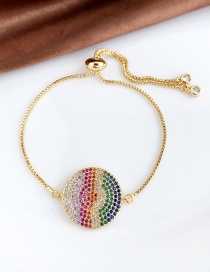 Fashion Gold Copper Inlay Zircon Round Bracelet